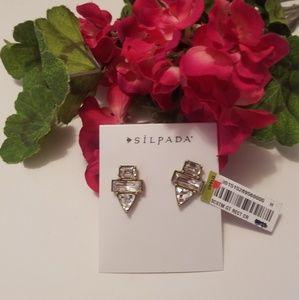 Silpada KR Geometric Crystal Stud Earrings